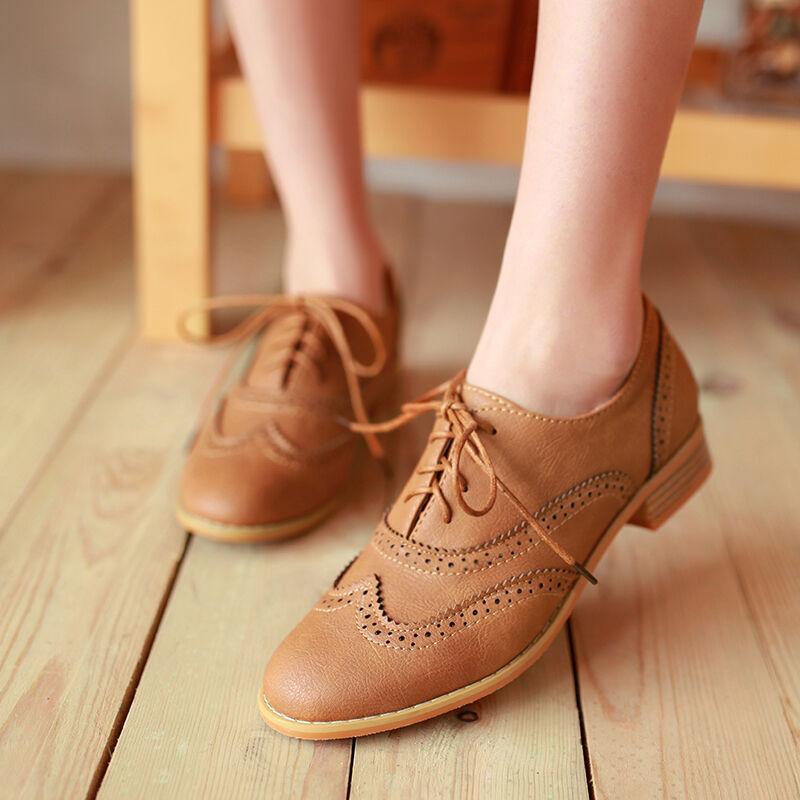 Womens Retro Vintage Lace Up Brogue Chelsea Casual Oxfords Shoes Plus Size New