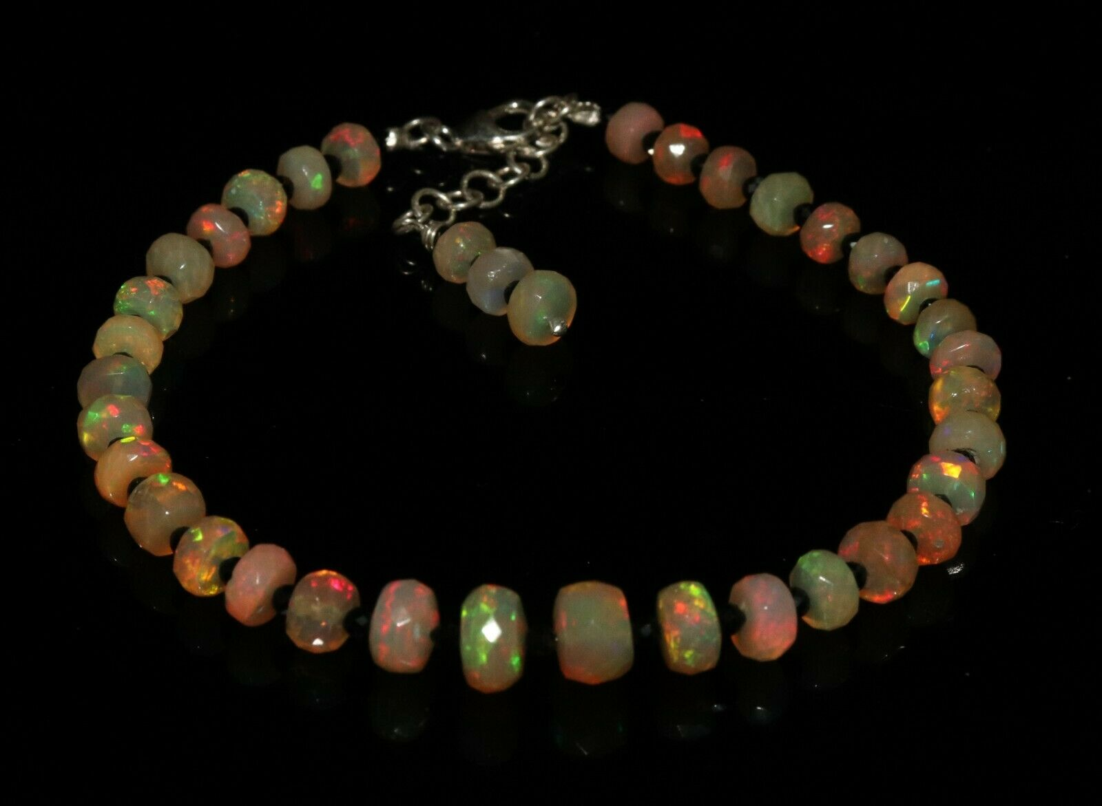 Ethiopian fire opal Almond and Roundel bead with spinel Bracelet 925 silver 55