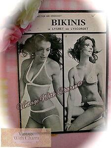 94b925c7e3b Vintage 70s Bikini Pattern For A Crochet & A Knitted Bikini. 3 Sizes ...