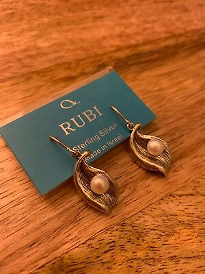 Noa Zuman Silver Earrings With Pearl Made In Israel Retail $49