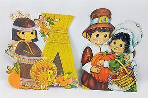 Vintage Thanksgiving Pilgrim Indian Cardboard Cutouts Decorations