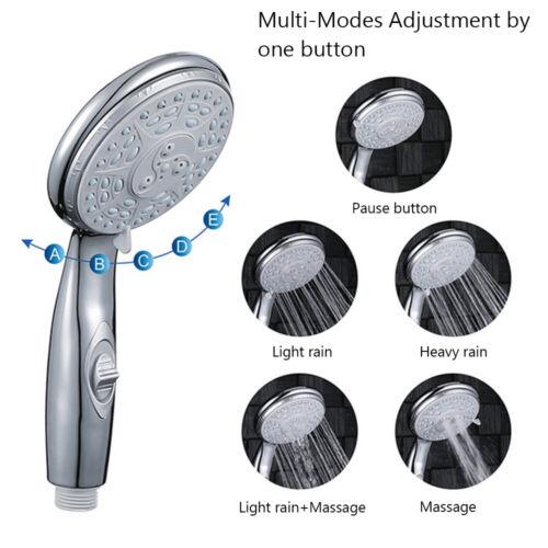 High Pressure 5 Modes Adjustable Handheld Showerhead Shower Head ON//OFF Switch