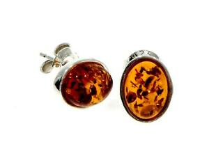 CERTIFIED-BALTIC-AMBER-925-STERLING-SILVER-Oval-Stud-Earrings-M637