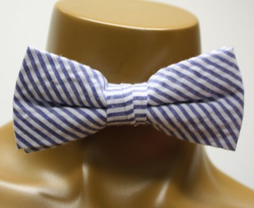 Lord and Taylor Boys Bowtie Bow Tie Blue White Striped check Clip On Adjustable