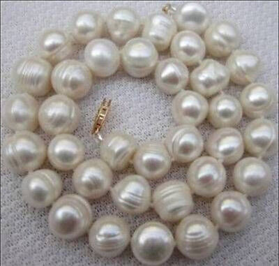 9-10MM WHITE SOUTH SEA BAROQUE PEARL NECKLACE 18INCH
