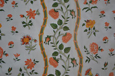 "Pretty vintage orange flowers cream lined cotton fabric curtains 36 x 44""L"