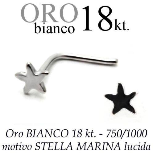 a STELLA MARINA starfish white gold 18kt Piercing da naso nose ORO BIANCO 18kt