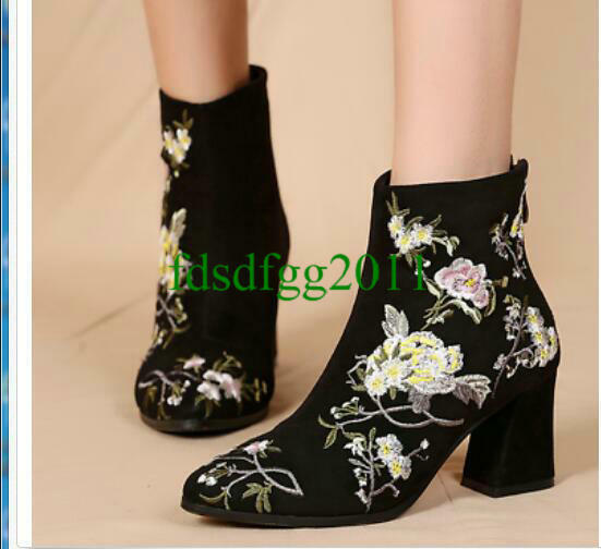 Womens Suede Embroidery Floral Ankle Riding Boots Pointed Toe High Heels Shoes