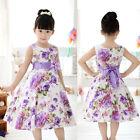 Chic Filles Enfants Princesse Fête De Noces Violet Fleur Noeud Robe Complet