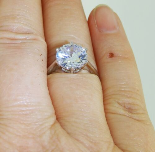 3CT SIMULATED DIAMOND SOLITAIRE RING SINGLE STONE 925 STERLING 2.9g SIZE N