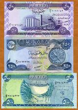 SET, Iraq, 50;250;500 Dinars, 2003-2004, Picks 90-91-92, UNC > first post-Saddam