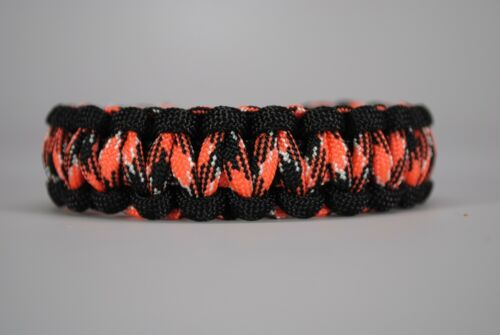 550 Paracord Survival Bracelet Cobra Black//Orange Camo Camping Military Tactical