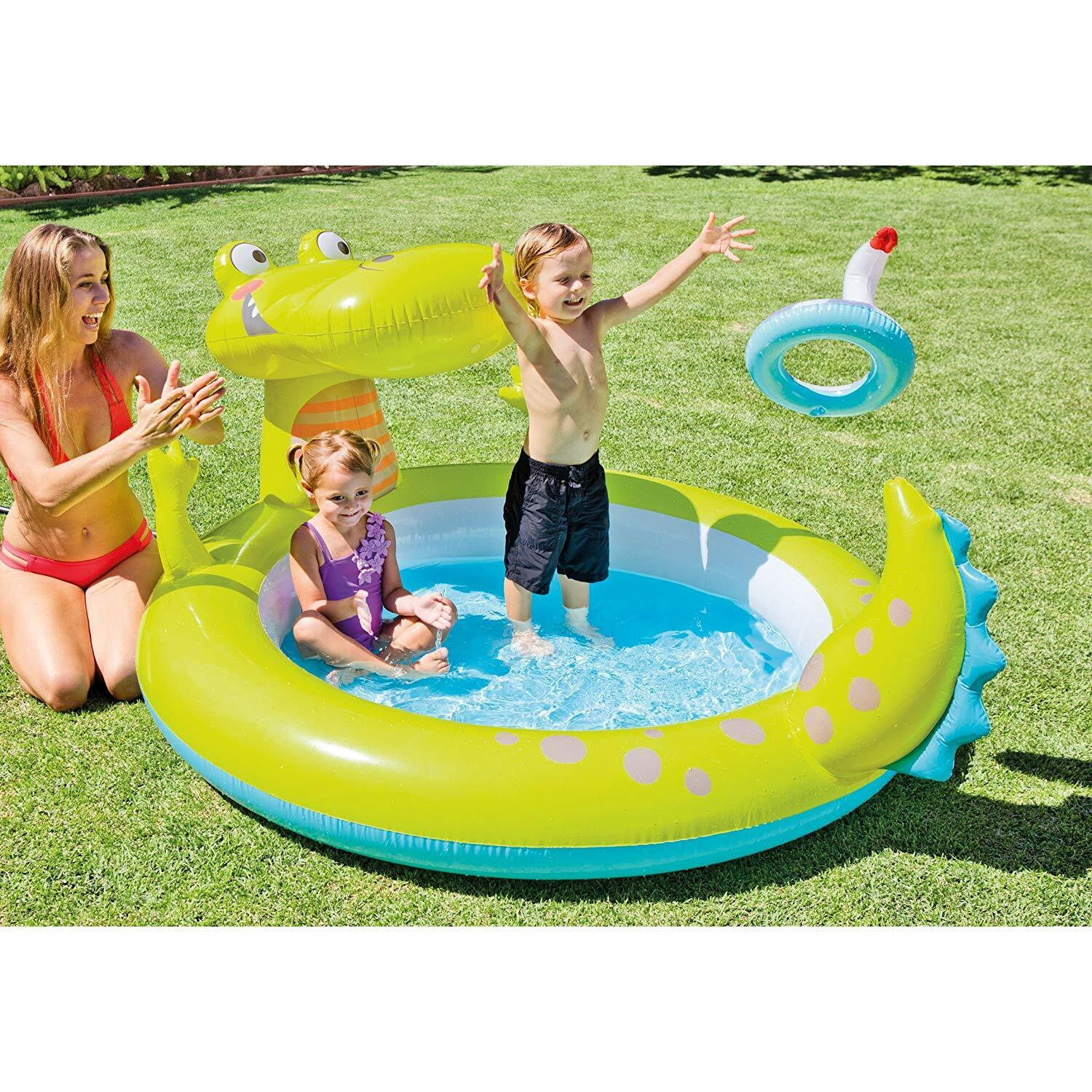 Intex 57431NP Pool Inflatable Alligator 198x160x91cm, 170 Litres With Sprayer