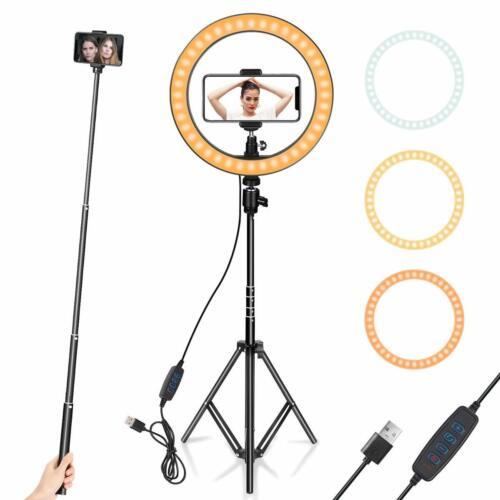 Ring Light Selfie Stand Phone Camera Holder Tripod Dimmable Studio Lighting Kit