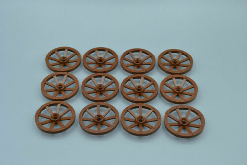 LEGO 12 x Rad Speiche alt braun Brown Wheel Wagon Large 33mm D Hole Round 4489a