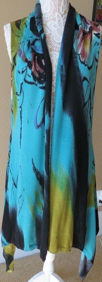 Dor Dor Couture Sz XL Green Multicolor Multicolor Multicolor Open Front Cotton Lyocell Duster Coverup 36e44f