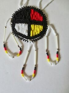 3207c409b05b6 Medicine Wheel Necklace of glass beads & porcupine quills- P St John ...