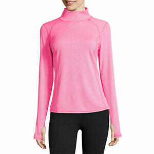 Xersion Women\'s Mock Neck Pull Over Long Sleeve Shirt Pink LARGE ...