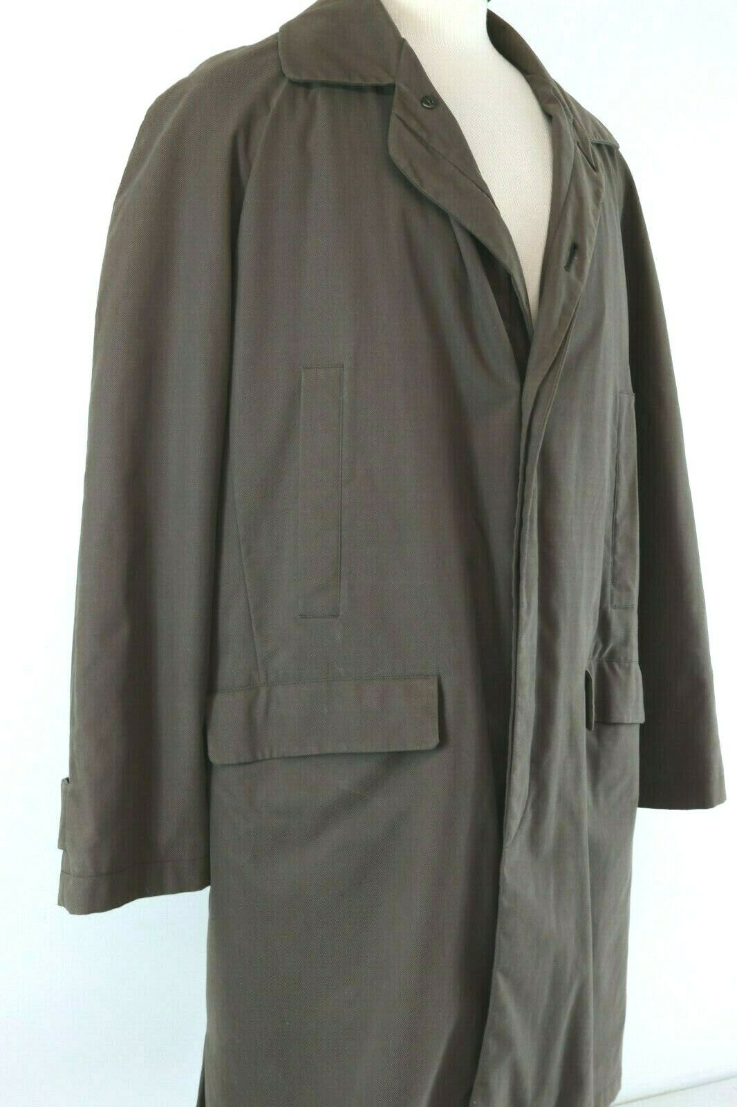 Ralph Lauren Chaps Trench Long Over Coat Brown Sz 42R Fits XL Wool Zip Out Liner