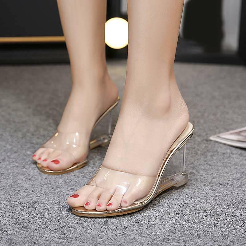 Summer Open Toe Clear Transparent Sandals Slipper Womens  Wedge Heel shoes Mules