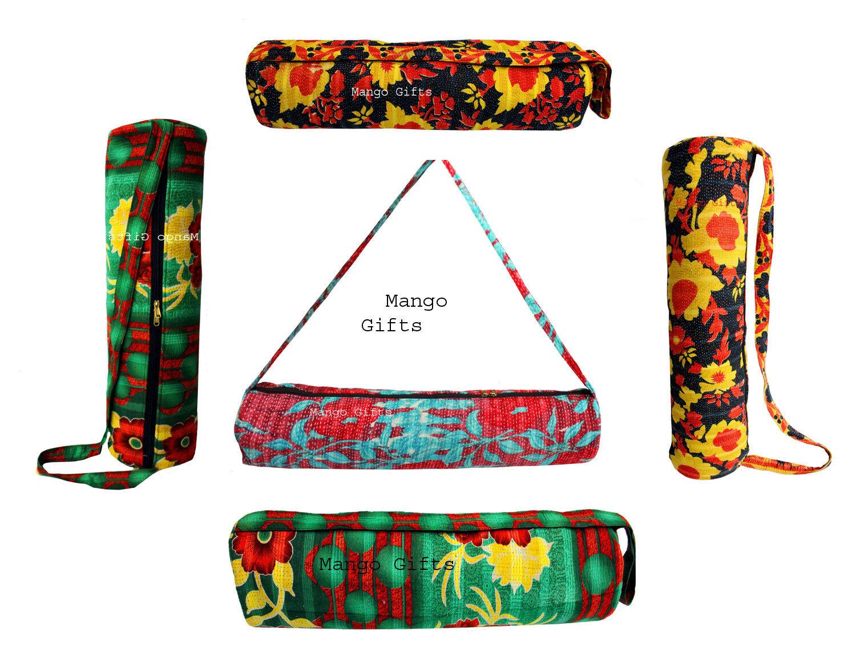 Indian Handmade Vintage Tribal Kantha trabajo de algodón Bolso De Yoga Mat bolsa de transporte 10 PC