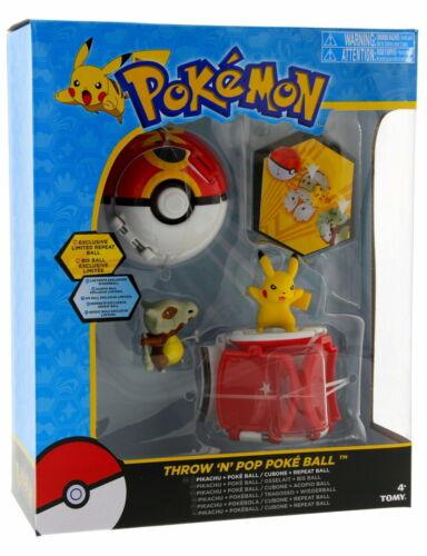 Pokemon Throw /'N/' Pop Duel Pikachu Pokeball /& Cubone Repeat Ball Figure Set NEW