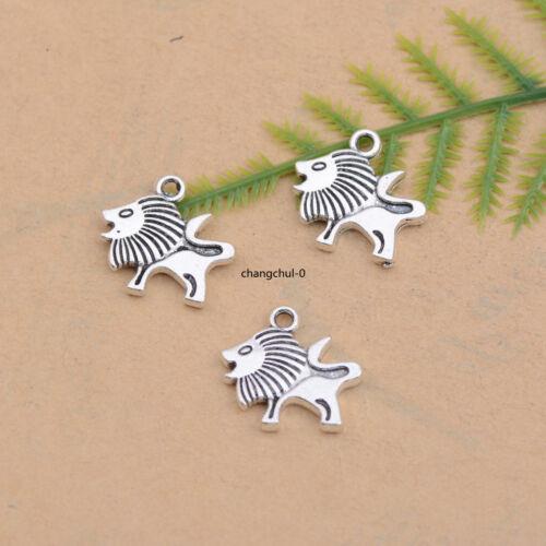 10//30Pcs Tibetan Silver Lion Charm Pendant for Bracelet Necklace DK163
