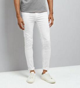 8c6e5a3a8 La imagen se está cargando Para-hombre-Super-Skinny-Jeans-Blanco-LCJ-Denim-