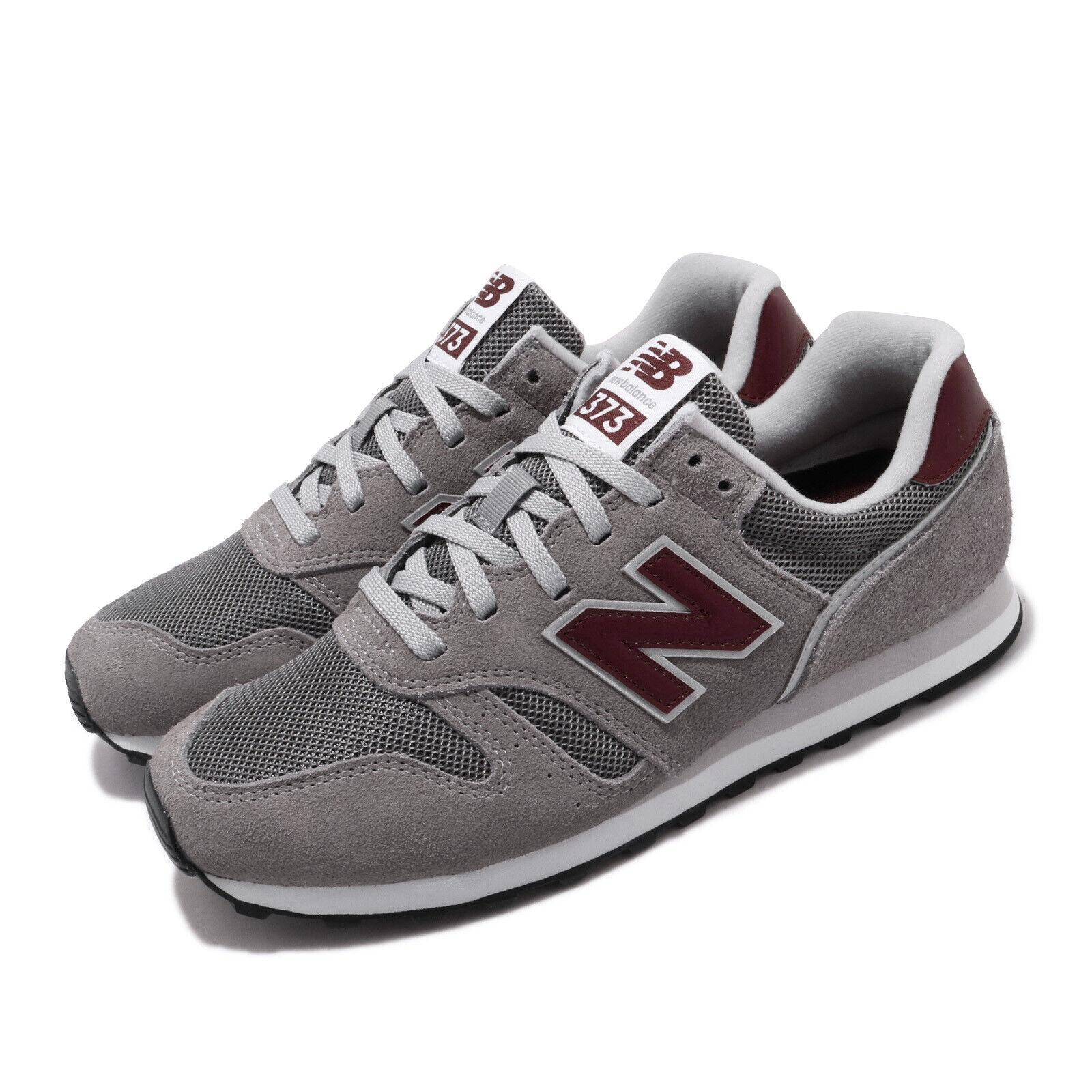 New Balance 373 Grey Suede Burgundy Men Women Retro Running Shoes ML373AD2 D