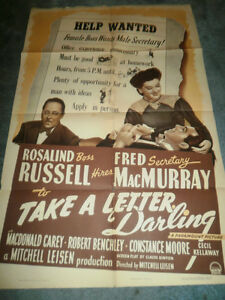 TAKE-A-LETTER-DARLING-1942-ROSALIND-RUSSELL-ORIGINAL-ONE-SHEET-POSTER
