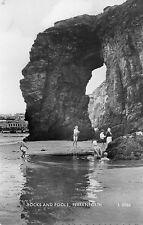 postcard Cornwall Perranporth Rocks and pools posted Valentine's