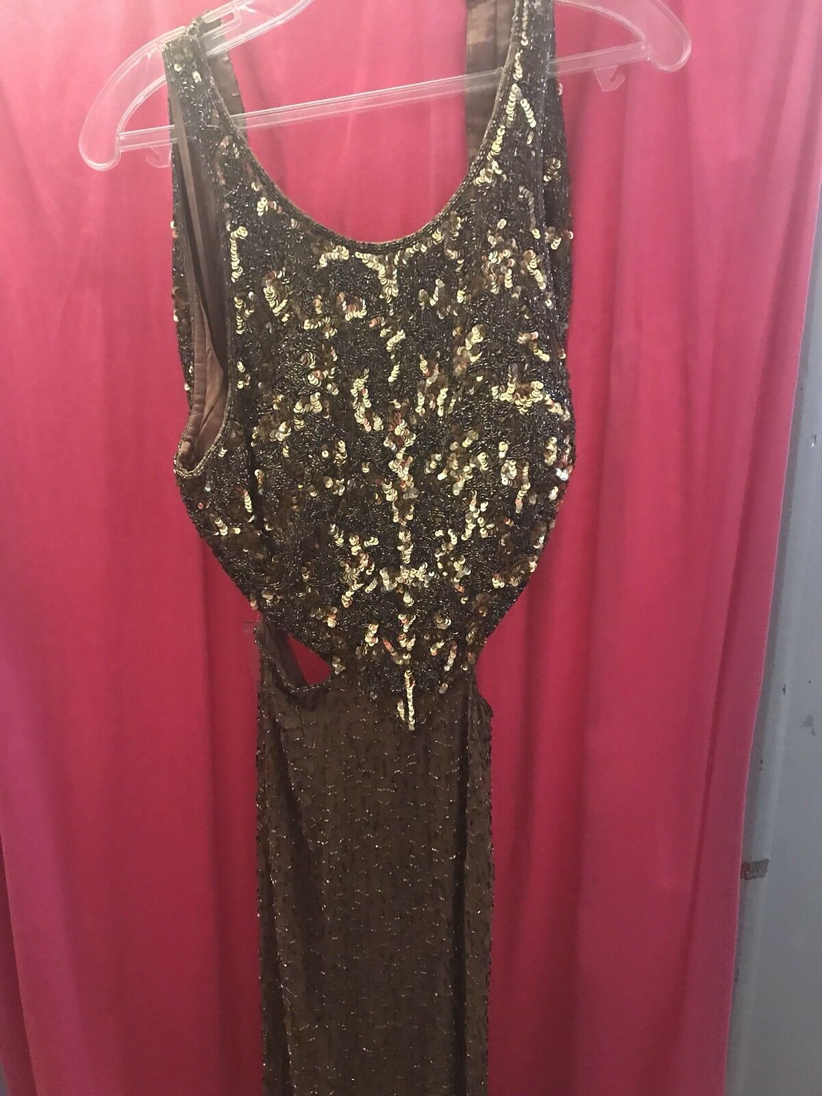 Gold sequin and beaded gown new with tags