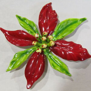 Vintage-CHRISTMAS-Brooch-Poinsettia-Flower-Pin-Red-Green-Enamel-3-034