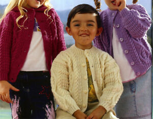 7e9f22fedfb49d KNITTING Pattern-Childs Aran Hooded   Round neck cardigan-Aran-wool ...