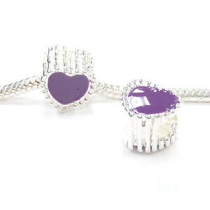 3-Beads-Purple-Enamel-Heart-Silver-European-Bead-Charm-E1198