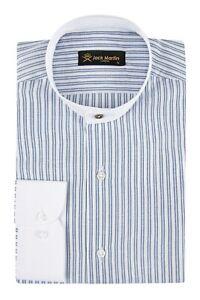 Jack-Martin-palida-Anteojeras-Estilo-Azul-a-Rayas-Abuelo-Camisa-sin-cuello-Collar
