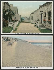 Nantucket MA: Two c.1920s H. Marshall Gardiner Postcards LITTLE COTTAGE, DUNES