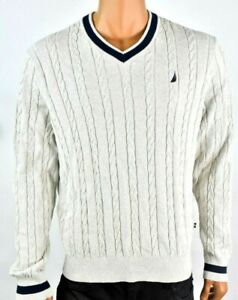 Details about Nautica Mens Sweater New S Cream V Neck Long Sleeve Cable Knit Stripe Pullover