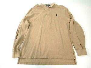 Polo-Ralph-Lauren-Mens-Size-XL-Tan-Long-Sleeve-Polo-Collared-Shirt-Pony-Logo