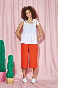 THE WHITEPEPPER Hipster Bow Strap Pleat Hem Top White #23B231