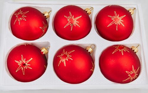 6Set Weihnachtskugeln Glas groß Ø 8 cm Rot Weinrot Gold Sanfgelb schön verziert!