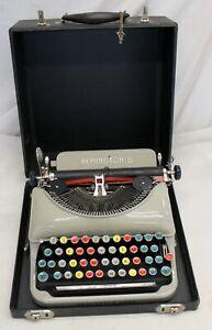 1930's Glossy Tan REMINGTON RAND Portable 5 Streamline Typewriter WORKING Case