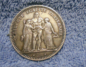 D490-1874-FRENCH-5-FRANC-SILVER-COIN-EX-BROOCH