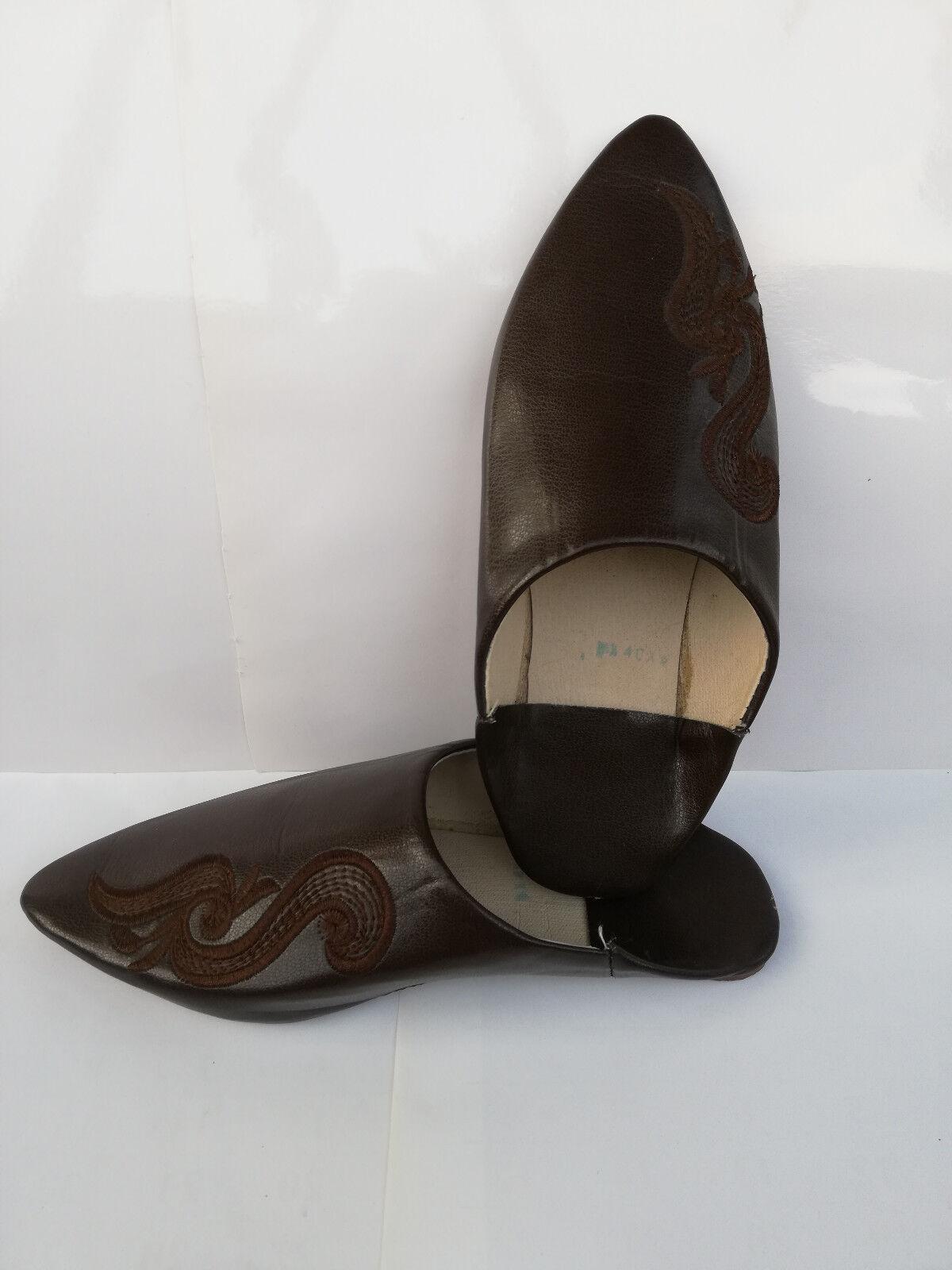 Amazing Moroccan Wouomo scarpe slippers Babouche Marronee Handmade Natural Leather