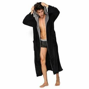 Hooded Herringbone Men's Black Soft Spa Full Length Warm Bathrobe With Grey Kimo