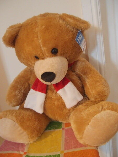 Large 18  Soft Brown Teddy Bear BNWT Red White Scarf