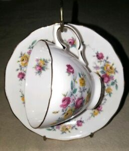 CROWN ROYAL TEA CUP AND SAUCER BONE CHINA SET WITH Flowers vintage