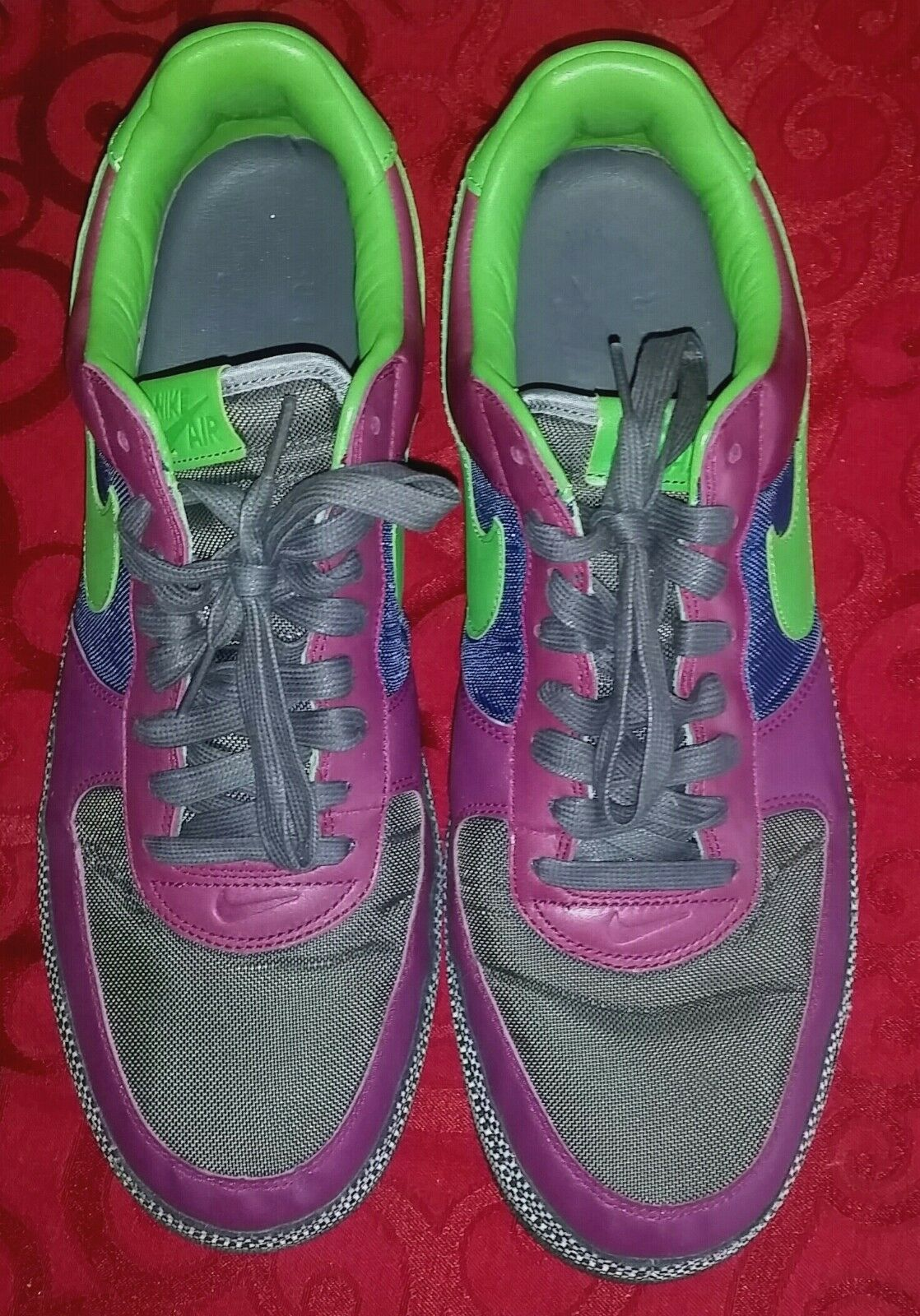 Nike Air Force 1 Purple/Green/Blue/ Black & White Checker Pattern.