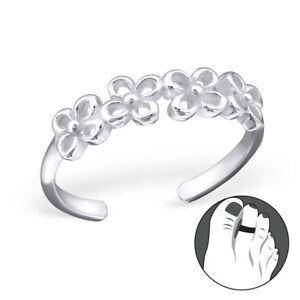 TJS 925 Sterling Silver Toe Ring Braid Design Adjustable Fine Body Jewellery