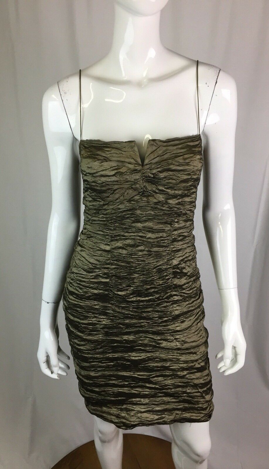 375 Nicole Miller Womens 12 Metallic Bronze Green Ruched Stretchy Bodycon Dress